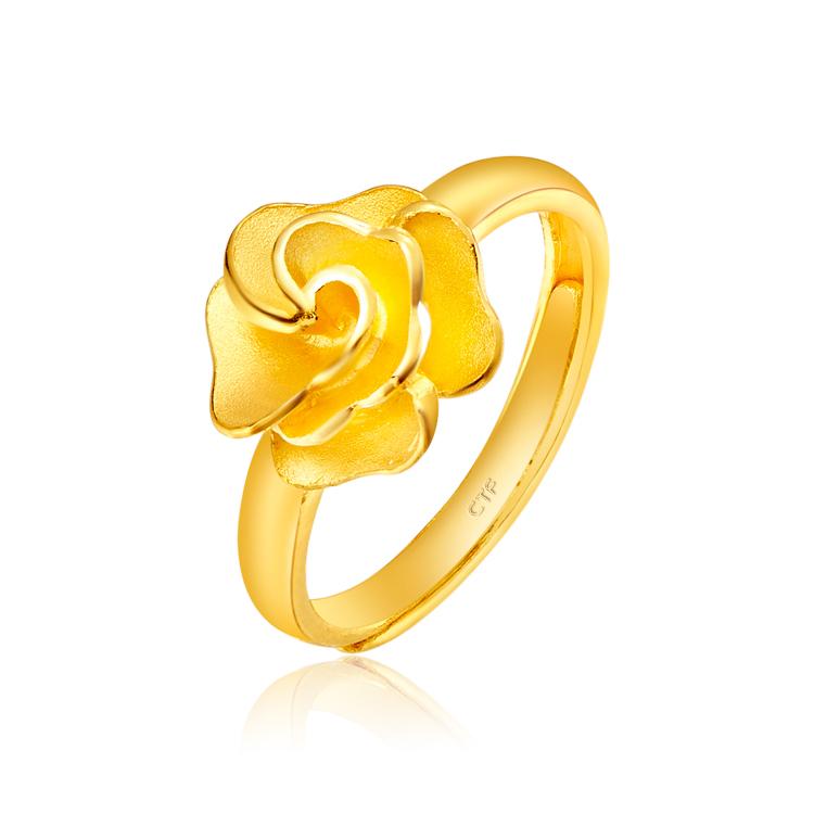 光沙花漾黄金足金戒指