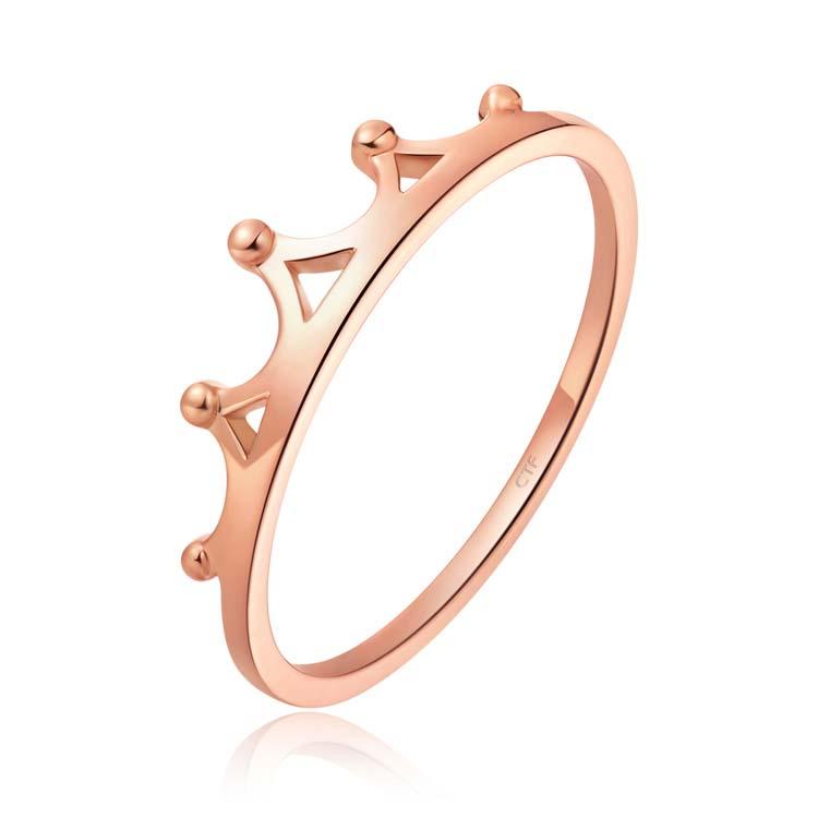 女神系列皇冠玫瑰色18K金戒指