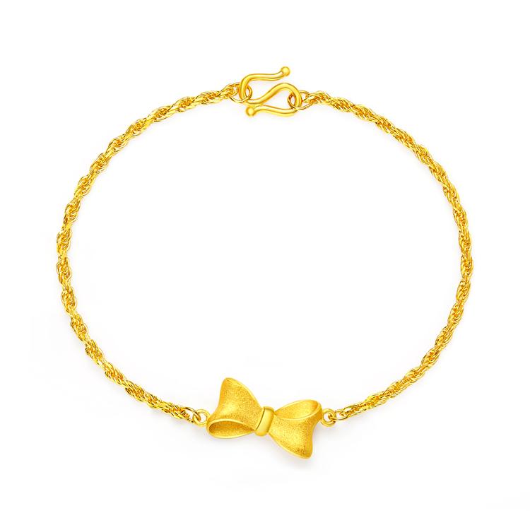 光沙扭绳蝴蝶结黄金足金手链