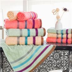 花果果 渐变素缎 套巾三件套 竹纤维吸水 情侣成人装 条纹纯色
