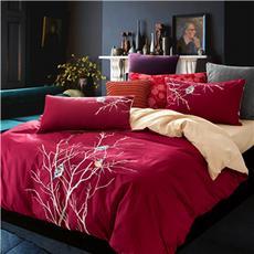 花果果家纺 静鸟语 四件套 全棉床上用品厚床单被套 刺绣绣花