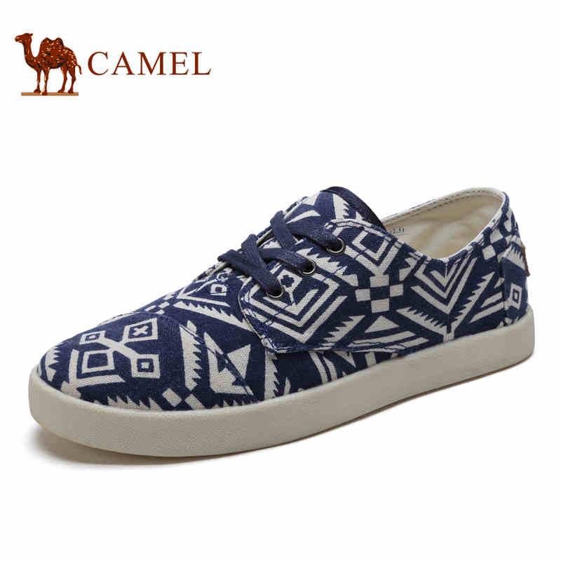 camel骆驼男鞋 2017春季新品帆布鞋 印花透气松紧日常休闲套脚男鞋