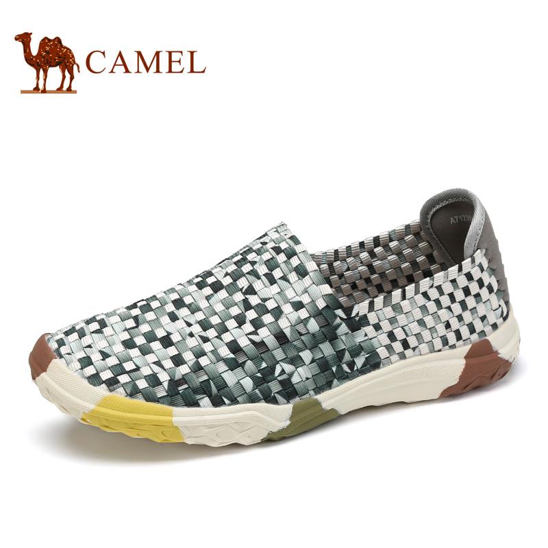 camel骆驼男鞋 2017春季新品低帮鞋 轻质舒适透气套脚时尚编织鞋