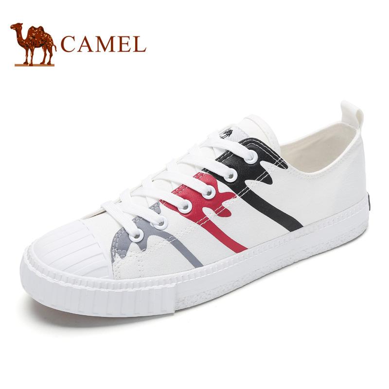 camel骆驼男鞋 2017春季新品系带鞋 舒适帆布鞋轻便学院风休闲鞋