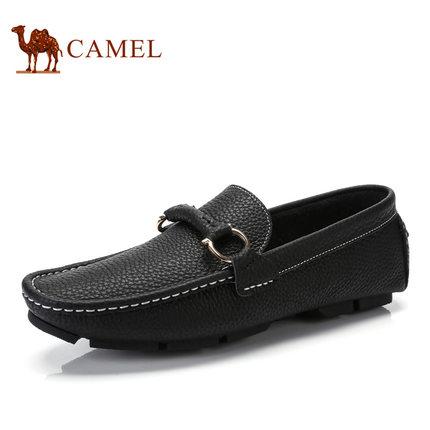 camel骆驼男鞋 2017春季新品 时尚柔软舒适豆豆鞋轻盈套脚休闲皮鞋