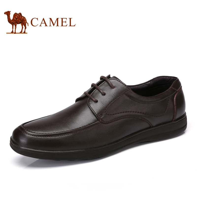 camel骆驼男鞋 2017春季新品 舒适商务休闲牛皮系带低帮鞋男士皮鞋