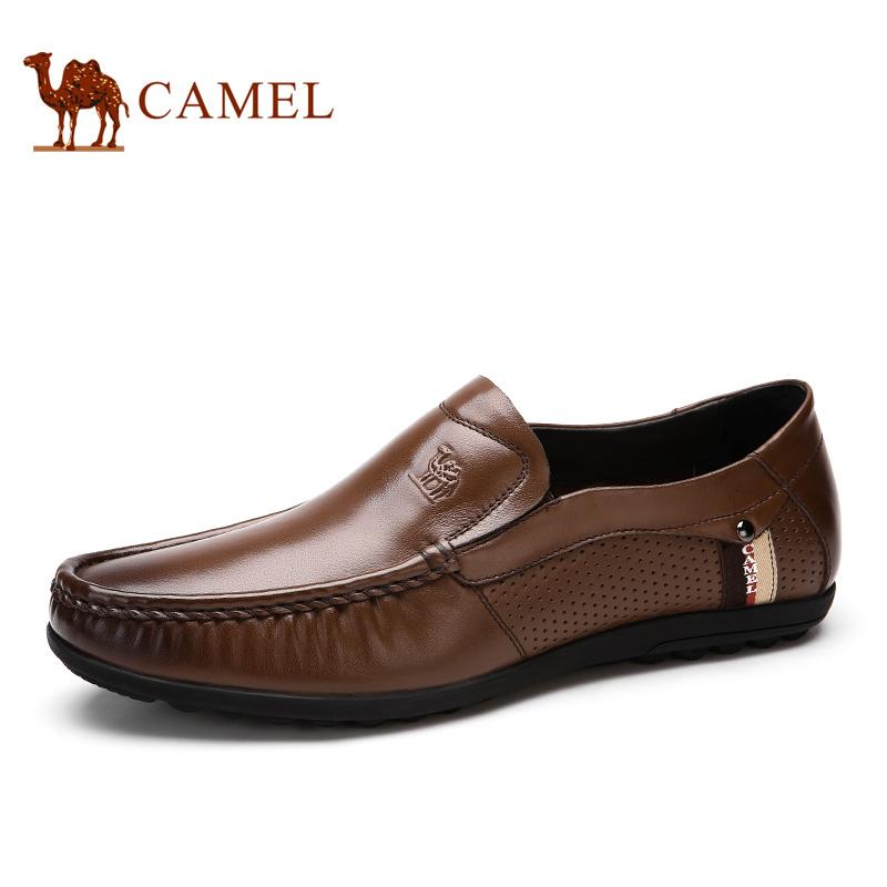 camel骆驼男鞋 2016春季新款 男士休闲鞋真皮懒人鞋透气皮鞋