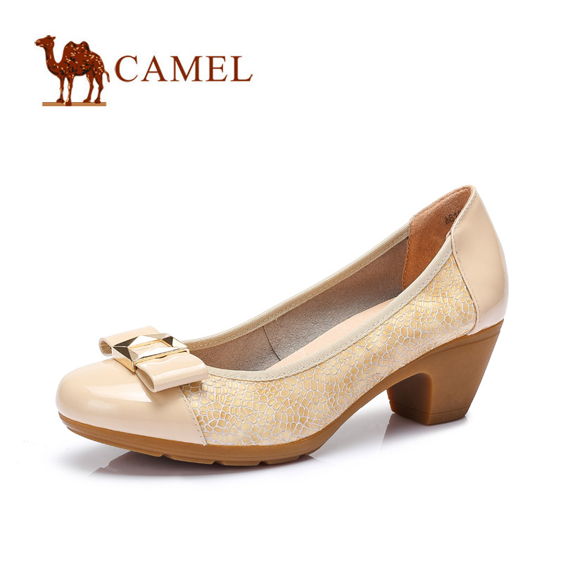 camel骆驼女鞋 休闲通勤 2016春季新款圆头舒适中跟单鞋