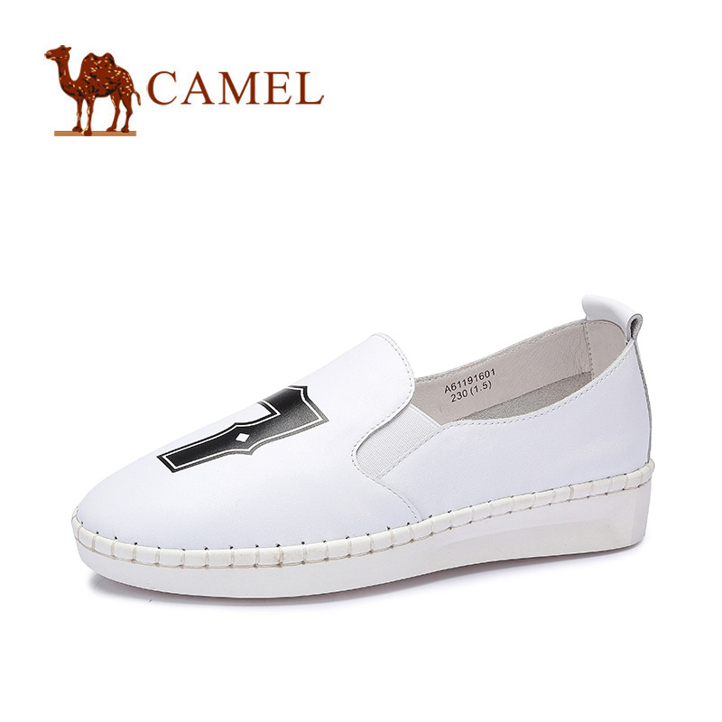 camel骆驼女鞋 纳帕牛皮圆头休闲日常女单鞋 2016春季新款