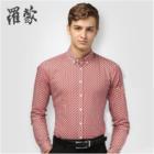 罗蒙衬衫男长袖印花休闲青年尖领衬衣新款男装棉3C43677