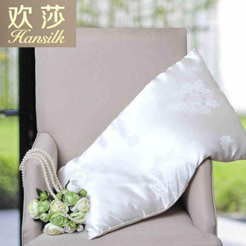 Hansilk欢莎家纺100%桑蚕丝长丝绵填充真丝提花面料超纯蚕丝枕