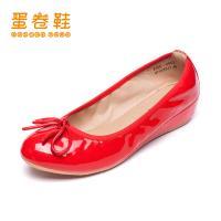 蛋卷鞋新款纯色蝴蝶结圆头时尚内增高平底单鞋EQS-0402-200