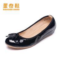 蛋卷鞋新款纯色蝴蝶结圆头时尚内增高平底单鞋EQS-0402-100