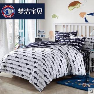 梦洁宝贝儿童纯棉四件套件卡通海洋风床品男孩床单套件菲尔普斯1.8米床1030142751
