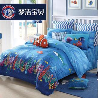 梦洁宝贝儿童纯棉三件套迪士尼床单被套夏季孩子三件套海底大都会1.2米床1030149233