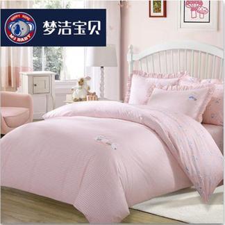 梦洁宝贝儿童全棉四件套件卡通家纺床上用品女孩床单被套萌兔兔1.5米床1030142744