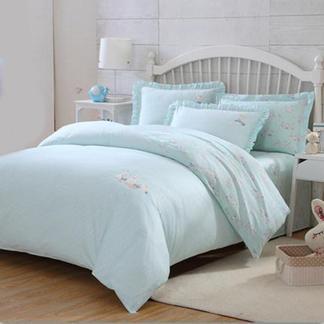 梦洁宝贝儿童全棉三件套件卡通家纺床上用品女孩床单被套萌兔兔1.2米床1030142743