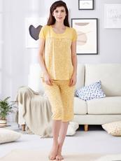I'd爱帝夏款睡衣女士韩式甜美短袖t恤七分裤舒适家居服女薄款睡衣