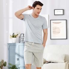 I'd爱帝夏款男士运动短袖t恤中裤休闲套彩印简约短袖短裤家居服