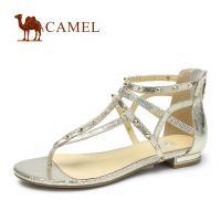 camel骆驼女鞋 时尚休闲爆裂纹铆钉夹趾羊皮凉鞋