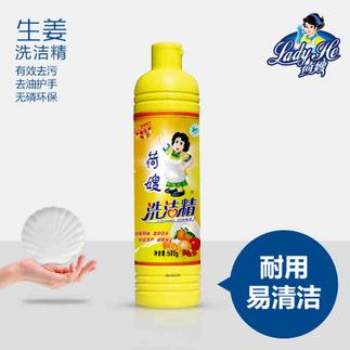 荷嫂 纯天然生姜芦荟洗洁精瓶装500G去油护手无磷环保厨房清洗液