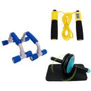 爱玛莎家用健身三件套  滚轮健腹器+工字俯卧撑支架+计数跳绳