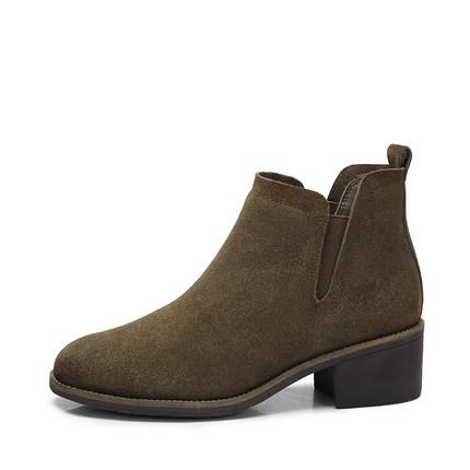 camel 骆驼女鞋 2017秋冬新款 简约舒适方跟短靴 百搭中跟女靴切尔西靴