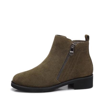 camel 骆驼女鞋 2017秋冬新款 时尚韩版方跟磨砂皮短靴 中跟短筒女靴子