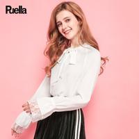 puella白色雪纺衬衫女2017秋冬季新款韩版宽松蝴蝶结灯笼袖百搭长袖上衣20010748