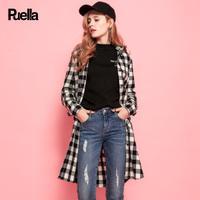 puella2017秋冬新款韩版宽松中长款复古港味潮长袖bf连帽格子衬衫外套女20010752