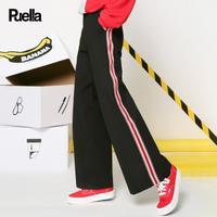 puella2017冬装新款韩版学生宽松高腰百搭潮侧边条纹休闲阔腿裤裤子女20010841