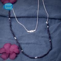 PH7银饰925银项链女气质蓝砂石花朵毛衣链饰品长款项链送女友礼物