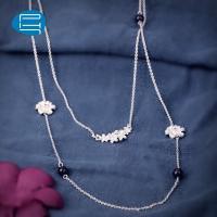 PH7银饰品925银项链女手工花朵气质长款毛衣链女韩版首饰品送女友
