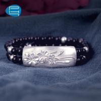 PH7银饰925银手链女气质雕花银手环双圈蓝砂石手饰品礼物送女友