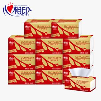 心相印抽纸 3层面巾纸12包红悦餐巾纸家用卫生纸巾抽纸