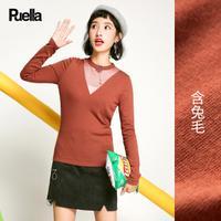 puella 镂空针织衫女2017新款秋冬装韩版休闲修身显瘦圆领套头长袖打底衫20011121