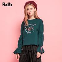puella 2017秋冬新款韩版喇叭袖长袖墨绿色上衣宽松圆领套头刺绣针织衫女20011126