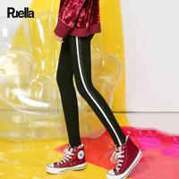 puella 2017冬装新款韩版学生休闲百搭高腰长裤外穿侧边撞色踩脚打底裤女20011554