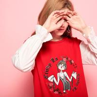 Puella 2017秋冬季新款宽松时尚学生小清新拼接刺绣针织连衣裙女20300044