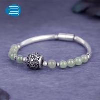 PH7银饰手链女气质复古和田玉串珠饰品银管单圈手环礼物送女友