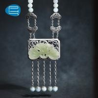 PH7新款妆匣首饰品 925银手工银饰品和田玉翡翠珠长款流苏项链女