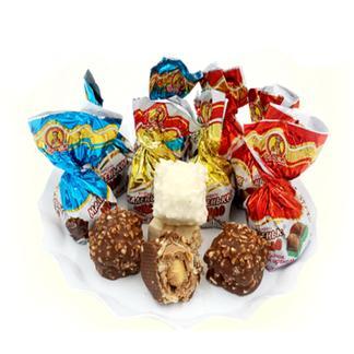 俄罗斯进口小神奇三种口味巧克力榛仁威化糖1000克