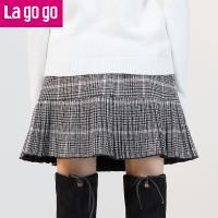Lagogo拉谷谷2017冬季新款学院风琴褶鱼尾半身裙格子高腰毛呢裙子GCBB14XA56