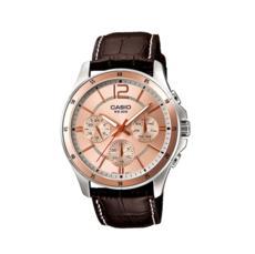 卡西欧手表男 商务防水夜光石英表皮钢带指针手表MTP-1374L-9A