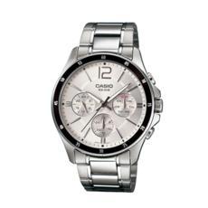 卡西欧手表男 商务防水夜光石英表皮钢带指针手表MTP-1374D-7A
