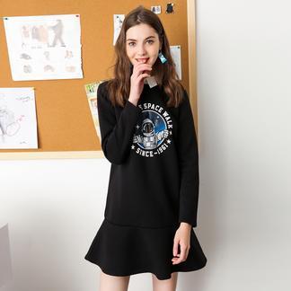 puella纯色连衣裙女套头短款2017冬装新款韩版长袖学生百搭荷叶边短裙20011279