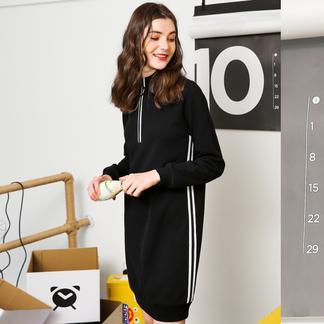 puella2017冬装新款韩版学生卫衣裙一步裙半高领撞色字母印花连衣裙女20011280