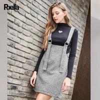 puella2017冬装新款学生高领针织衫格子呢背带半身裙两件套时髦套装裙女20011281