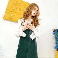 puella   PU皮吊带裙两件套女2017冬装新款韩版时尚荷叶领长袖白衬衫套装裙20011283
