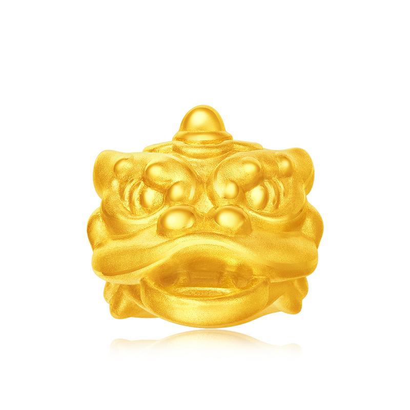神气喜狮转运珠黄金足金吊坠